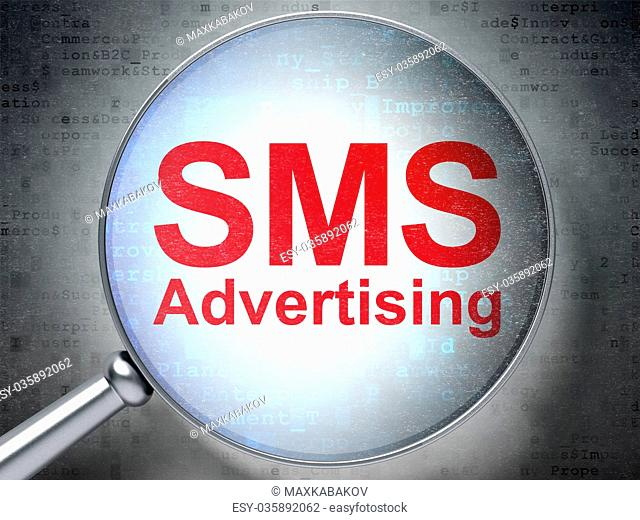Marketing concept: SMS Advertising with optical glass