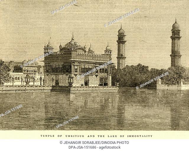 Golden temple and lake of immortality ; Amritsar ; Punjab ; India