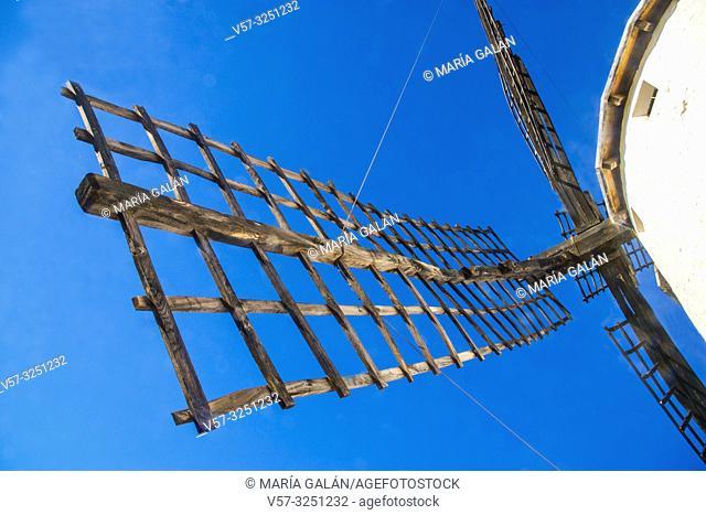 Windmill, view from below an arm. Campo de Criptana, Ciudad Real province, Castilla La Mancha, Spain