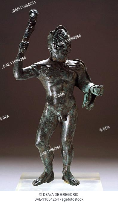 Bronze statuette depicting Hercules in battle, front view, from the Sanctuary of Villa Cassarini (Bologna). Etruscan Civilization, ca 400 BC