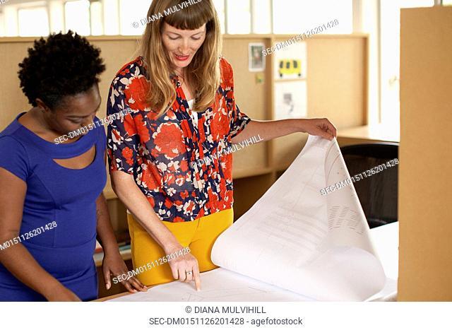 Female architects checking blueprints