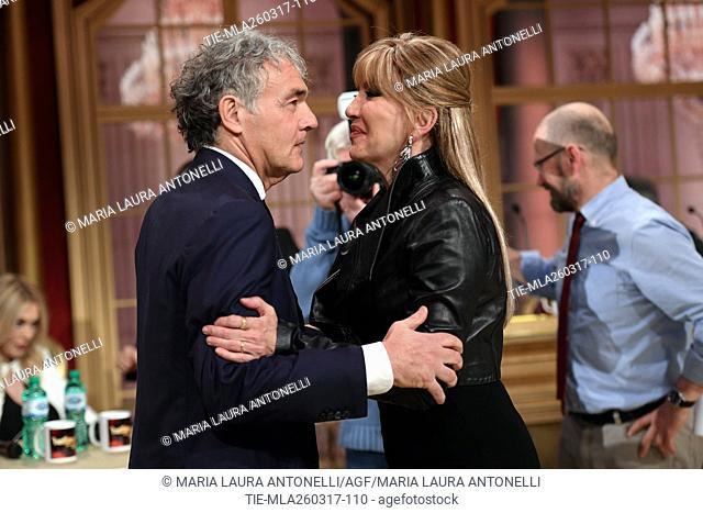 Massimo Giletti, Milly Carlucci during the tv show Ballando con le stelle, Rome, 25-03-2017