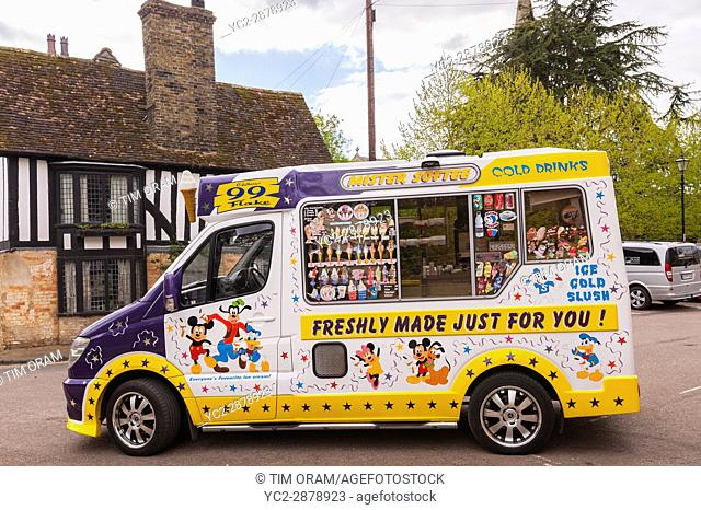 A Mister Softee ice cream van in Ely , Cambridgeshire , England , Britain , Uk