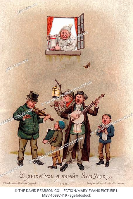 Musicians in the snow on a New Year card, about to have something poured on them from a jug
