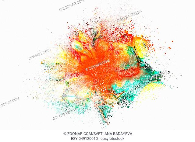 Abstract explosion of powder splatted over white background