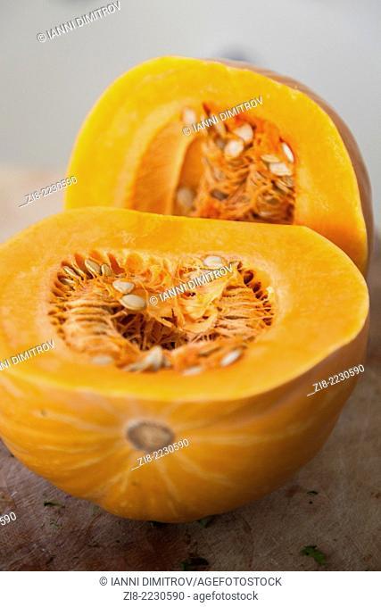 Pumpkin,Squash-cut in half,Cucurbita Pepo