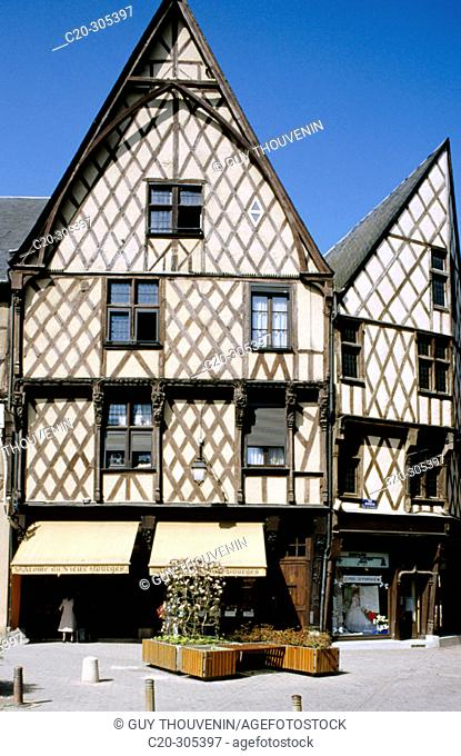 Ancient house in Place Gordaine. Bourges. Cher. Centre. France