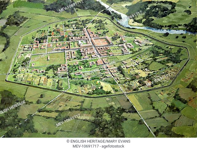 Wroxeter Roman City, Shropshire. Aerial reconstruction drawing of the city as it may have appeared in early 3rd century by Ivan Lapper
