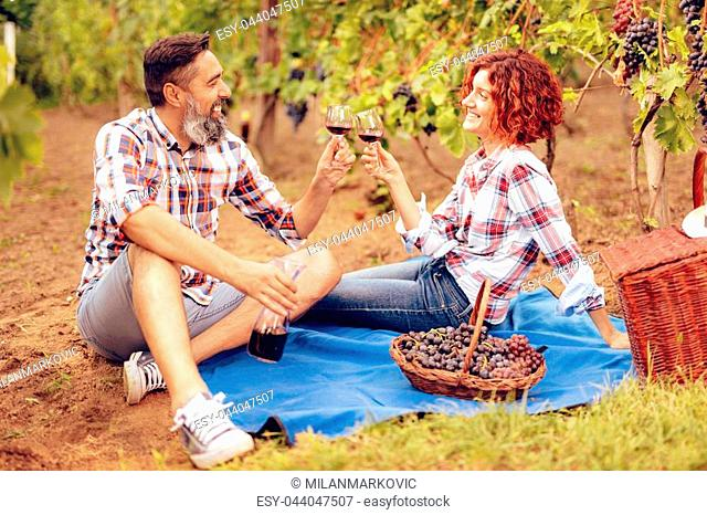 Beautiful happy smiling couple having picnic at a vineyard and toasting with wine for succesfull harvest
