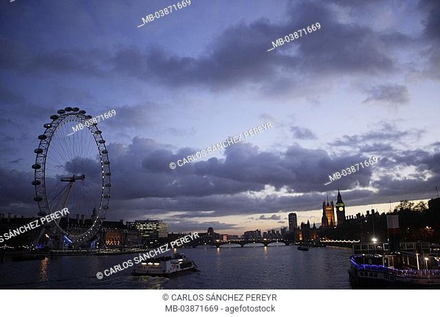 Great Britain, England, London, city-opinion, evening, cloud-mood, no property release, Europe, city, capital, city, river Thames sights landmarks London Eye...