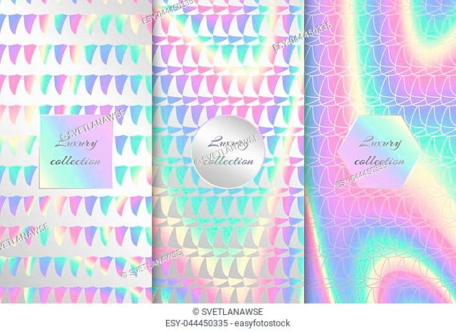 A set of bright backgrounds with a holographic effect. Colorful vector illustration