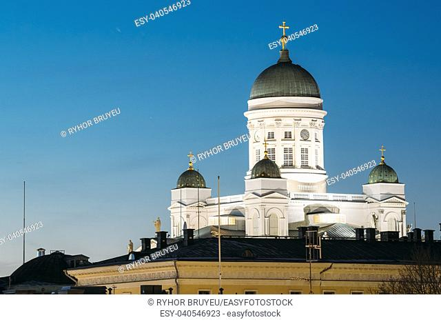 Helsinki, Finland. Famous Landmark Is Lutheran Cathedral In Night Evening Lighting
