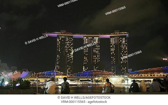 The laser light show at the Marina Bay Sands in Singapore