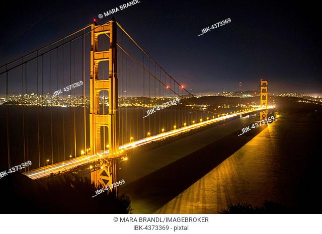 Golden Gate Bridge at night, San Francisco, USA