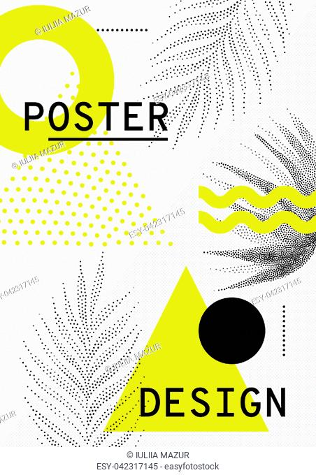 Universal trend Sales poster juxtaposed with bright bold geometric leaves foliage yellow elements composition. Background in restrained sustained tempered style