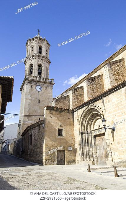 Mosqueruela village in. Teruel, Aragon, Spain. Parish church
