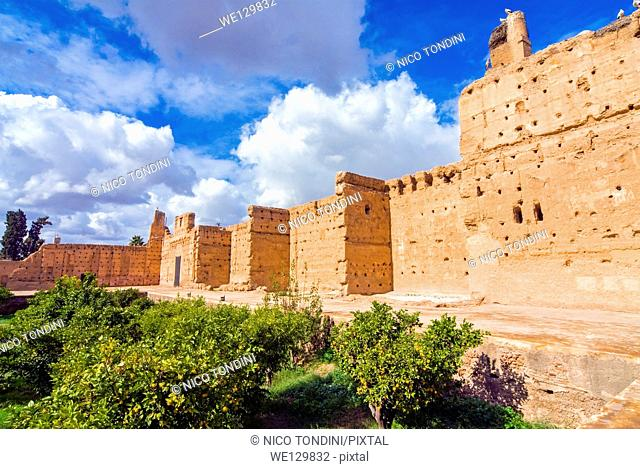 Ruins of the El Badii Palace, Marrakech (Marrakesh), Morocco, North Africa, Africa
