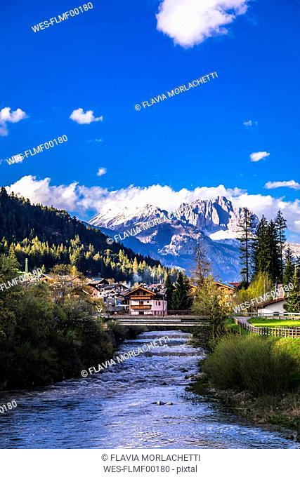 Italy, Trentino Alto Adige, Soraga, view of the village and river