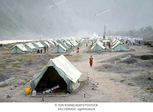 Displaced camp 6000 people in Muzafarabad where people from destroyed village receive shelter and help from aid organizations On 8 october 2005