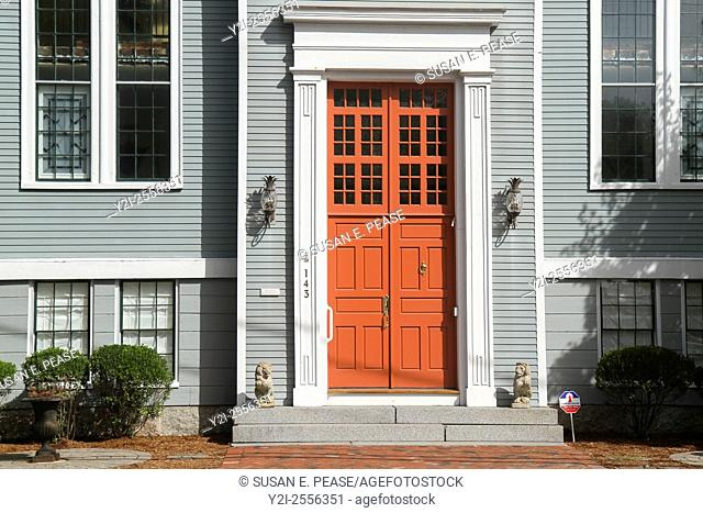 Front door of what was once the First Parish Church, now a private home, in the Town of Sandwich, Massachusetts, United States, North America