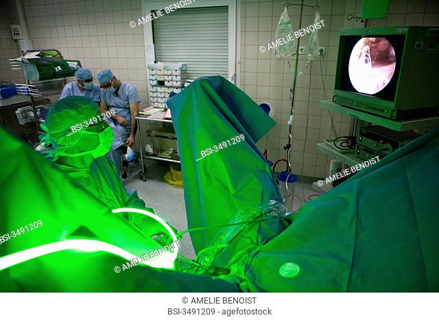 Photo essay at the Diaconesses hospital, Paris, France. Pole Pelvic floor, department of urology. Treatment of benign prostatic hypertrophy by Green light laser