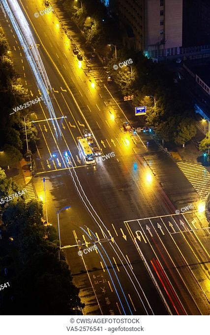 Changsha, Hunan province, China - Night view of Wuyi Road, the main road of the city