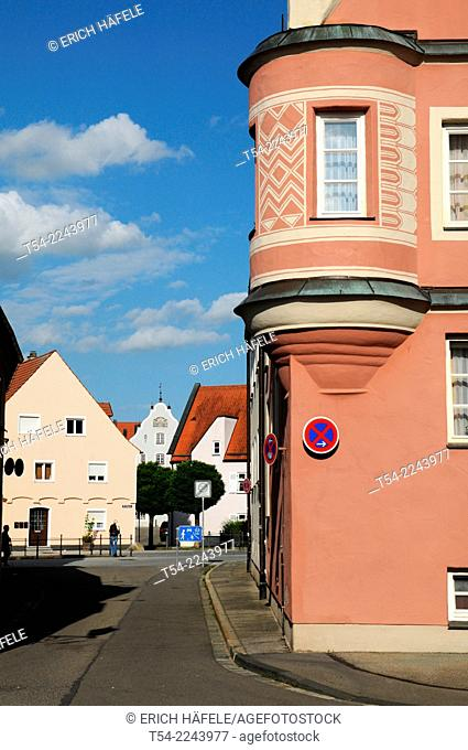 View of a old town alley of Memmingen, Germany, Bavaria