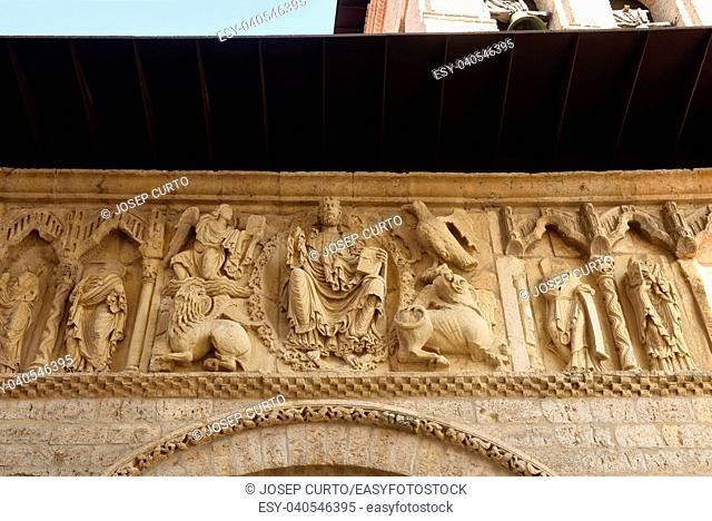 Detail of portico of Santiago church, Carrion de los Condes, Palencia province, Spain
