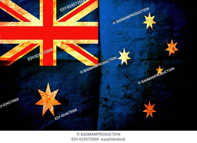 Old creased paper with Australian flag as the background