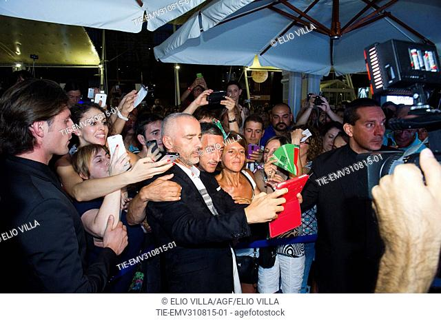 Eros Ramazzotti does a selfie with fans at Milan Expo 2015, Milan, ITALY-28-08-2015