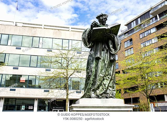 Rotterdam, Netherlands. Statue of scientist and philosopher Desiderius Erasmus, a great example of a Dutch Sientific Leader and Scholar