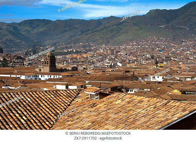 Old town of Cuzco where tile roofs dominate. Cuzco. Situated in the Peruvian Andes, Cuzco developed, under the Inca ruler Pachacutec