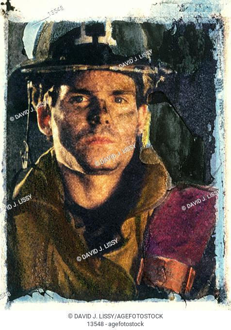 Fireman, Polaroid Transfer