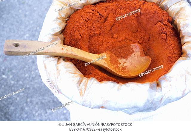 Pimenton de la Vera, Spain Famous Smoked Paprika. Powder on sack ready to sell on market stall. Extremadura, Spain