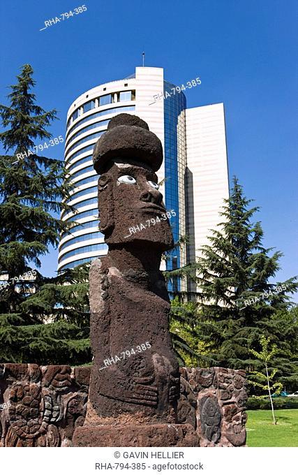 Moai statue in central Santiago, Chile, South America