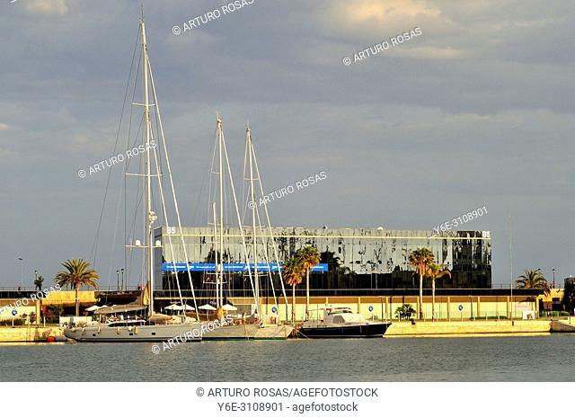 Sailboats in the seaport of Tarragona, Catalonia. Spain
