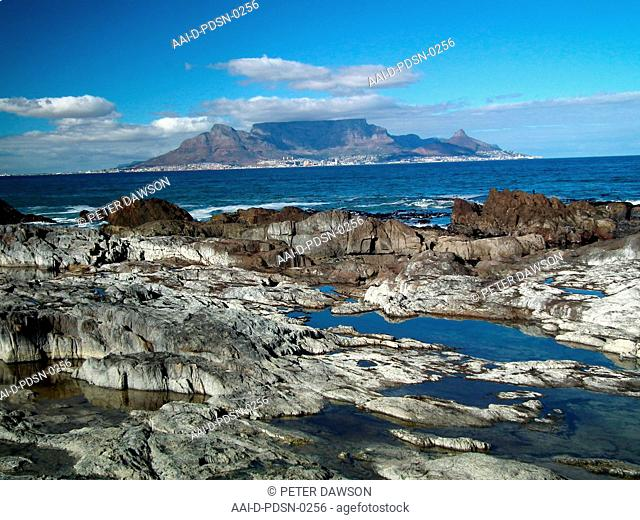 Table mountain from rocks, Cape Town, Western Cape, South Africa, 2012