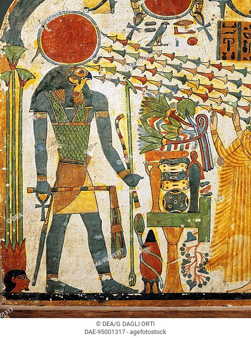 Egyptian civilization, Third Intermediate Period, Dynasty XXII. Painted wood stele of the Lady Taperet. Detail: sun god Ra emanating his rays in shape of a...