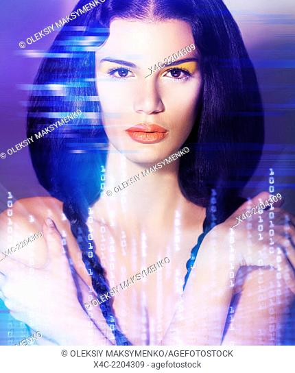 Portrait of a young beautiful woman face in digital virtual reality world. Artistic concept