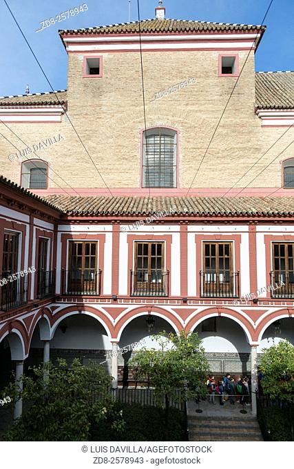 courtyard in The Hospital of the Venerable Priests of Seville, Spain, (popularly known the Hospital of the Venerable) is a baroque 17th-century building which...