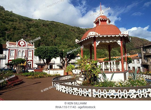 Bandstand in municipal gardens, Velas, Sao Jorge, Azores, Portugal, Europe