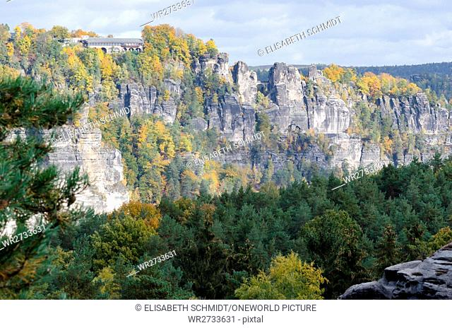 Germany, Saxony, Saxon Switzerland, hike from Wehlen over the Rauensteine, forest in front of a rock wall, view from the Rauensteinen to the Bastei