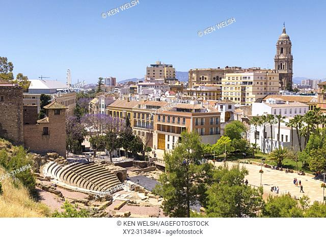 Malaga, Costa del Sol, Malaga Province, Andalusia, southern Spain. City view showing Roman theatre and cathedral. The Alcazaba can be seen to the left