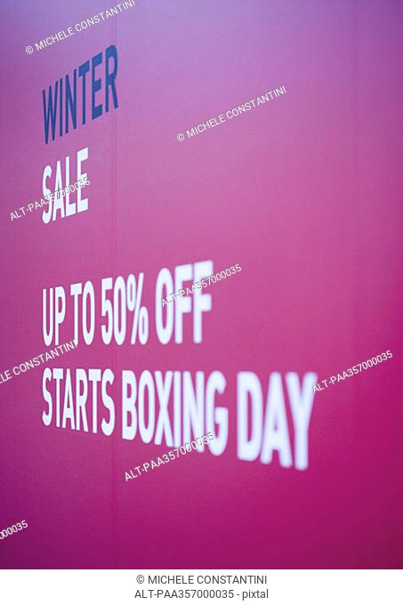 Poster announcing winter sale