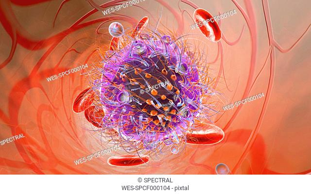 Virus with erythrocyte cells and oxygen in bloodstream, 3D Rendering