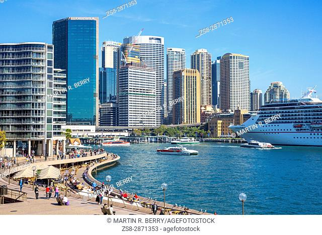 Circular Quay and harbour in Sydney city centre,New South Wales,Australia
