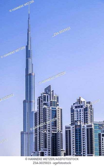 Dubai skyline with the Burj Khalifa, United Arab Emirates (UAE)