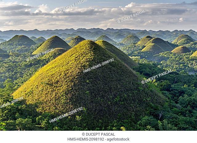 Philippines, Visayas archipelago, Bohol island, Carmen area, the Chocolate Hills at sunrise
