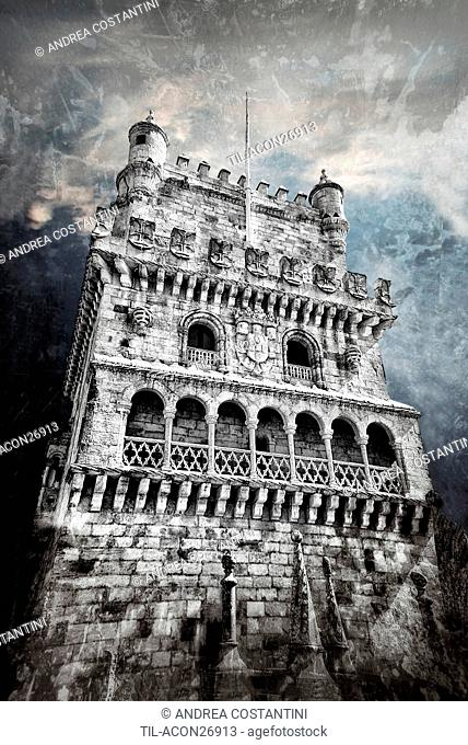 A dramatic view of the ancient Belem Tower in Lisbon , Portugal