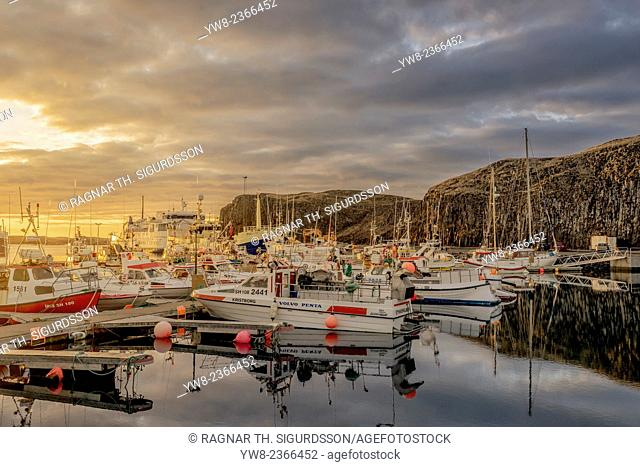 Boats in Stykkisholmur Harbor, Snaefellsnes Peninsula, Iceland
